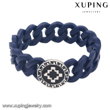 Bangle-53 Fashion Rubber Wrap Stainless Steel Jewelry Bangle