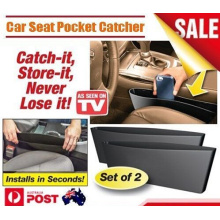 2PCS Black Catch Catcher Box Caddy Car Seat Gap Slit Pocket Storage Organizer (Bag22)