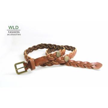 Fashion Basic Braided Genuine Top Leather Lady Belt Lky1188
