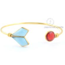 Chalcedony Bangle, plata 925 Alibaba Joyería al por mayor del brazalete para las mujeres