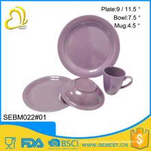 wholesale tableware round shape purple melamine bamboo dinner set