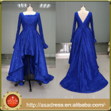 ASAM-02 Square Neckline Long Sleeves Ball Gown High-Low Backless Patterns of Lace Evening Dress