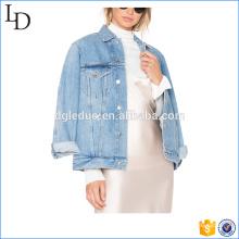 China direct factory denim jacket women oversize style jeans jacket