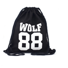 Promotion Custom Trend Fashion point canvas cotton school drawstring bags backpack Bag