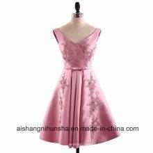 Satin A-Linie V-Ausschnitt Applikationen Kurz Mini Backless ärmelloses Abendkleid