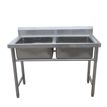 Stainless Steel Commercial Double Bowl Sink Work Table/Double Bowl Sink Work Bench