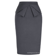 Grace Karin Womens Solid Color High Stretchy Hips-Wrapped Grey Vintage Retro Pencil Skirt CL010454-5