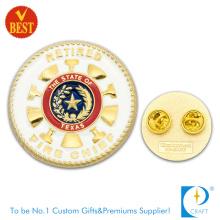 Émaillage souple en métal Souvenir de haute qualité Étiquette de pin en gros pour chef de pompiers à la retraite