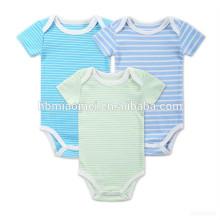 Onesie bébé vêtements ensemble bleu vert et blanc rayé coton bio bébé pom pom barboteuse