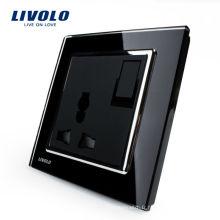 Livolo 1Way Switch Bouton-poussoir 3 Broches Multifonction 13A Prise De Puissance Panneau En Verre Cristal Noir VL-W2Z1C-11