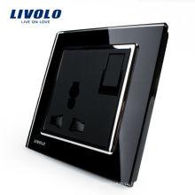 Livolo 1Way Кнопочный Переключатель 3-контактный Многофункциональный 13А Разъем Питания Черный Панель Кристаллического Стекла VL-W2Z1C-11