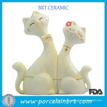 Venta al por mayor Decoración de cerámica amantes del gato regalo de boda
