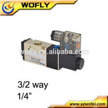 """1/8 """"1/4"""" China Válvula solenóide pneumática 3/2 vias 110v"""