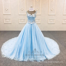 V-neck Blue A line Flower Evening Dress Latest Party Dress China Factory