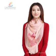 LINGSHANG grossista de alta qualidade crinkle seda muti-cor lenço de chiffon flor
