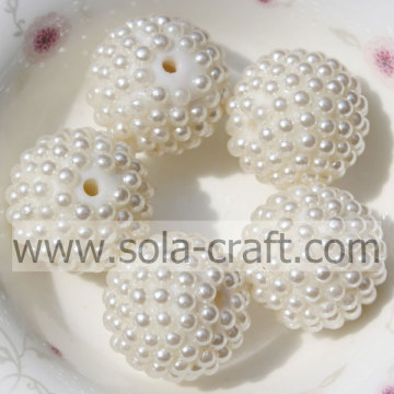 Hot Sale 20*22MM White Faux Pearl Resin Rhinestone Beads For Jewelry
