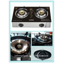 cuisinière à gaz à double brûleur en verre trempé, cuisinière à gaz