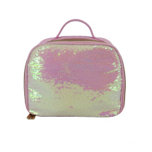 Cosmetic Packaging with Handle Travel PU Leather Sequin Lady Beauty Case Bag