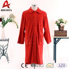 Wholesale solid color red coral fleece button bathrobe