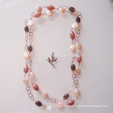 Boho Fresh Coin Pearl Gemstone Long Chain Necklace