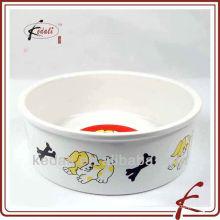 Cerámica de porcelana pet bowl con calcomanía