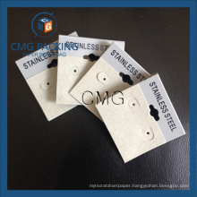 Grey Plastic Card Velvet Covered Earring Display Hang Tag (CMG-099)