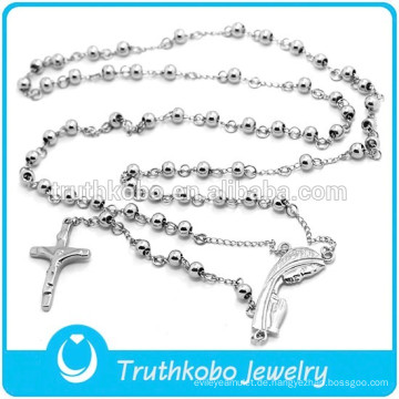 Hochwertiger gestützter kundenspezifischer Großverkauf Jusus Christian Mary Edelstahl-Rosenbeet-Halskette