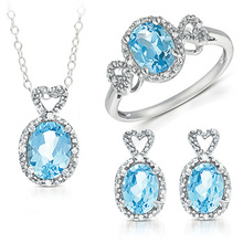 Sistema de la joyería de plata del topaz 925 azul Wholesales