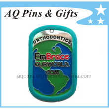 Metal Tag with Enamel Color with Silicone Ring