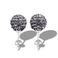 925 Boucles d'oreilles en argent sterling Shamballa Boucles d'oreilles en cristal de cérémonie de basketball BWE24