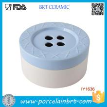 Gros Nice-Looking 4-Holes bouton pot de bonbons en céramique