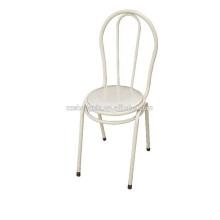 Cadeira de encosto branco, cadeira de lazer em metal, tubo de aço para casa