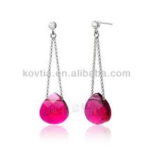 Encantadora jóia de rubi para senhoras 925 brincos de corrente de prata