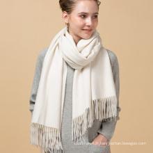 Nouveau design promotionnel personnalisé lait numérique couleur blanche impression pure 100% écharpe en cachemire