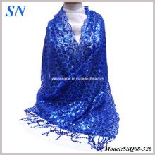 2014 Moda sólida azul Sequine largo bufanda delgada bufanda abrigo