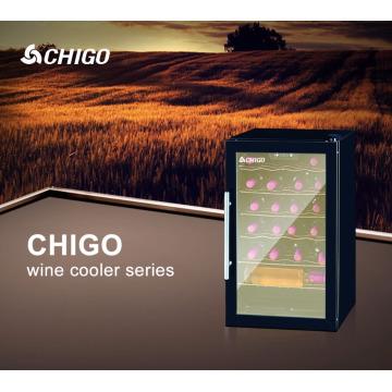 62L CFC affichage gratuit petit réfrigérateur en verre trempé de compresseur de porte de refroidisseur de vin