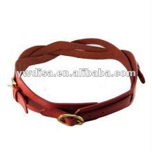 Novo estilo vermelho cinto de couro genuíno para mulher trançado couro cinto