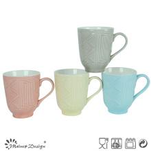 12oz Ceramic Mug Two Tone with Embossed Design