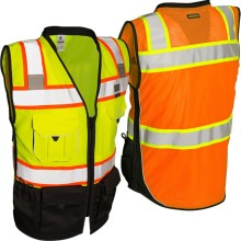 pockets orange vest with zipper closure PVC