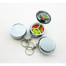 Изготовленный на заказ случай пилюльки с ключевой цепью, коробка круглой пилюльки с ключевой цепью