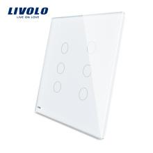 Livolo Blanc 125mm * 125mm Panneau Standard En Verre Double À Vendre À 6 Interrupteurs Tactiles Vangles Muraux VL-C5-C3 / C3-11