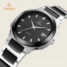 Montres-bracelet de couleur noire de chaîne d'acier inoxydable pour des hommes 72330
