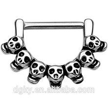 Latão crânio mamilo clicker anéis 316l cirúrgico aço barbell mamilo piercing jóias