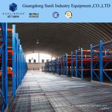 A cremalheira resistente apoiou o mezanino de aço do painel para o armazém com ISO / GV