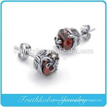 High Polish Cool Fleur De Lis Cross Earring Men's Sword Gothic Biker Earring Stainless Steel STUD Earring Red Stone for Women