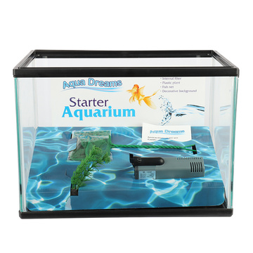 Heto Aquarium Kit Fish Tank avec pompe à filtre, filet de pêche inclus
