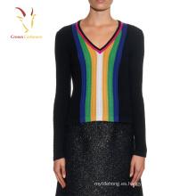 Jersey de manga larga con cuello redondo Jersey de rayas verticales con color