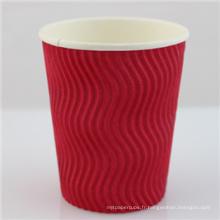 Tasse jetable de tasse de café de papier noir de 12oz Withlid