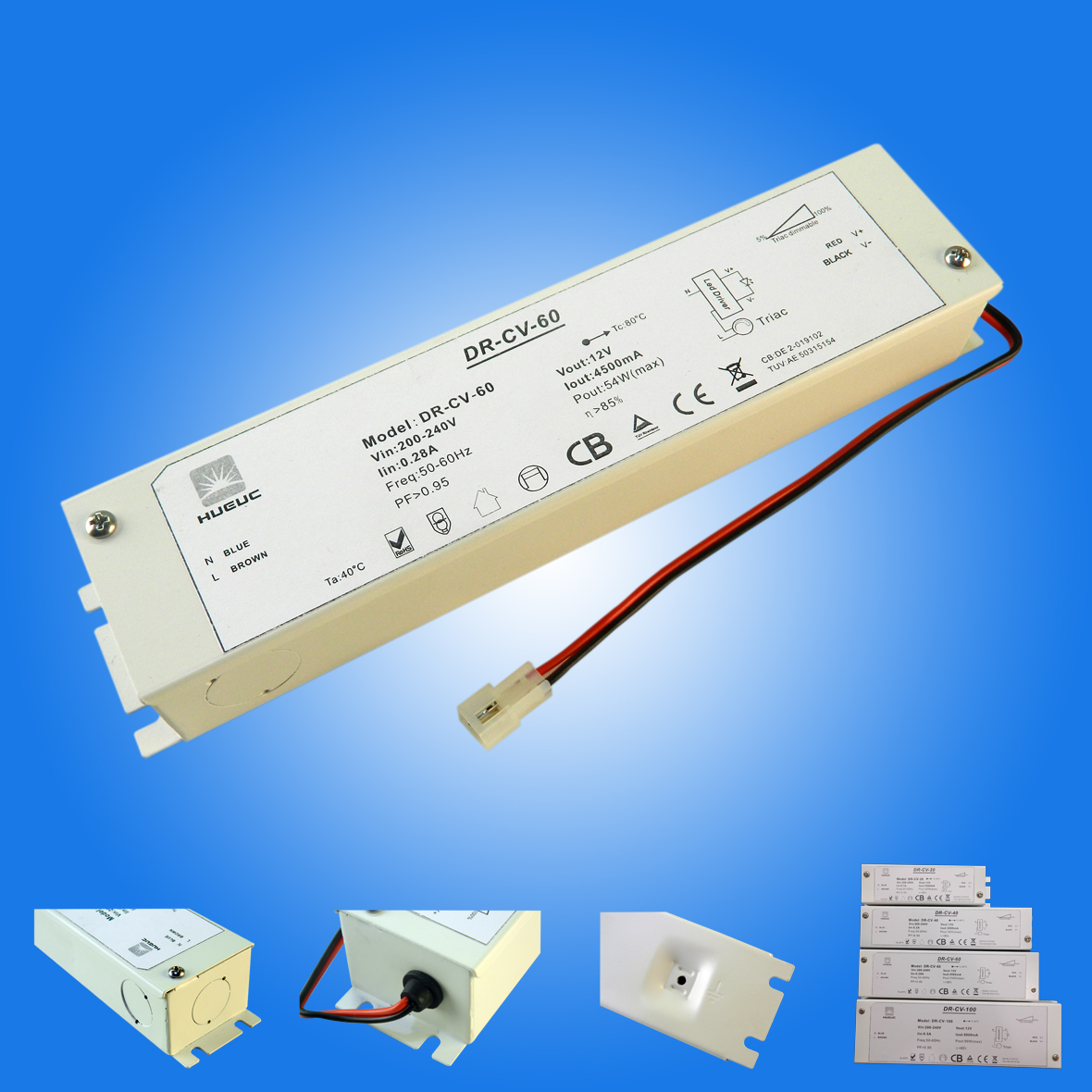 UL/ETL Junction boxed triac dimmable led driver 1-100W