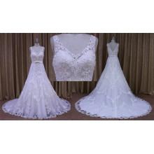 Реальный пример Трапеция Свадебные платья кружево платья